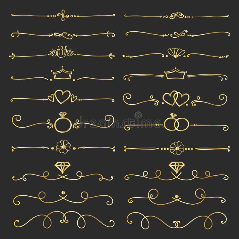 Fije de los elementos caligráficos decorativos de oro para la decoración stock de ilustración