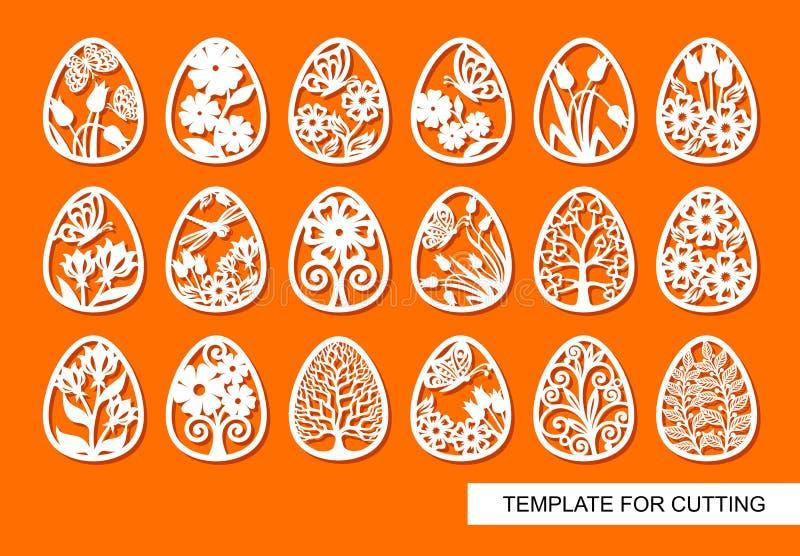 Fije de los elementos decorativos - huevos de Pascua con el ornamento floral y las mariposas stock de ilustración