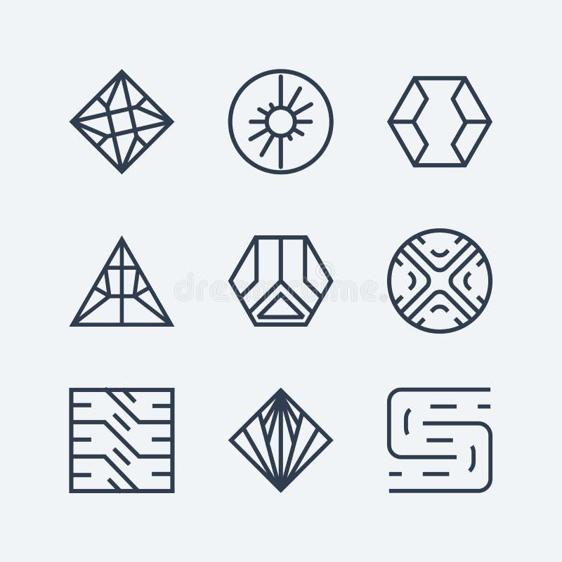 Fije de los elementos, de los emblemas, de las etiquetas y de las muestras lineares del diseño ilustración del vector