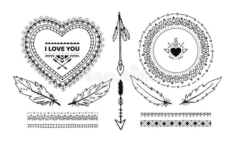 Fije de los elementos hechos a mano decorativos étnicos aislados en el fondo blanco ilustración del vector