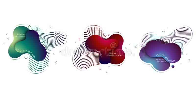 Fije de los elementos l?quidos abstractos, elementos coloreados saturados din?micos de moda modernos abstraiga el fondo EPS 10, v ilustración del vector