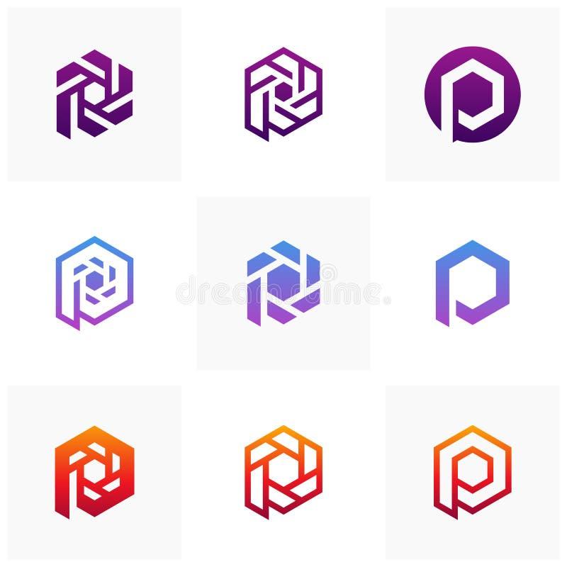 Fije de los elementos de la plantilla del diseño del icono del logotipo de la letra P, P inicial con el concepto del logotipo del stock de ilustración