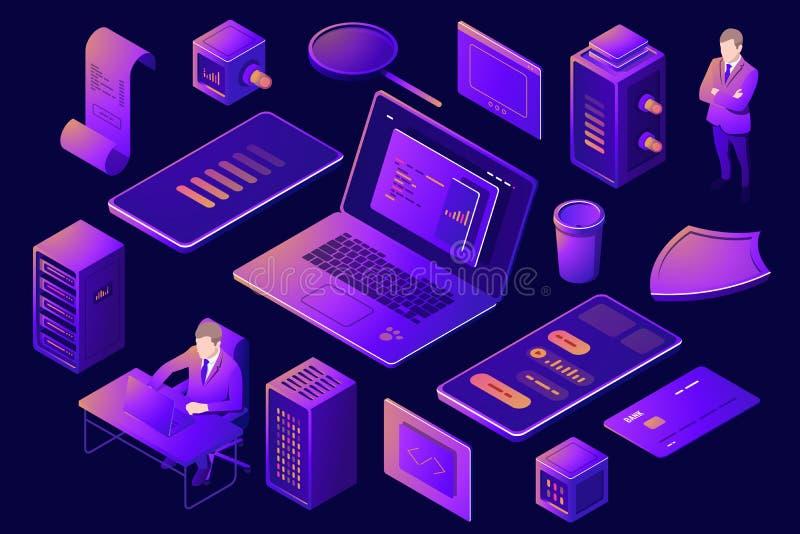 Fije de los elementos para el diseño de tecnología digital, granja del estante del sitio del servidor, gente isométrica, programa ilustración del vector