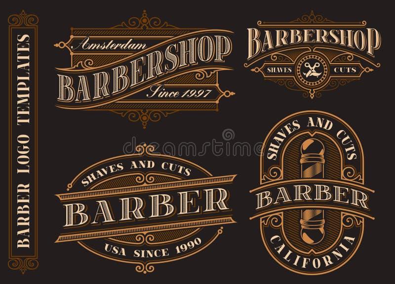 Fije de los emblemas de la barber?a del vintage, logotipos, insignias ilustración del vector