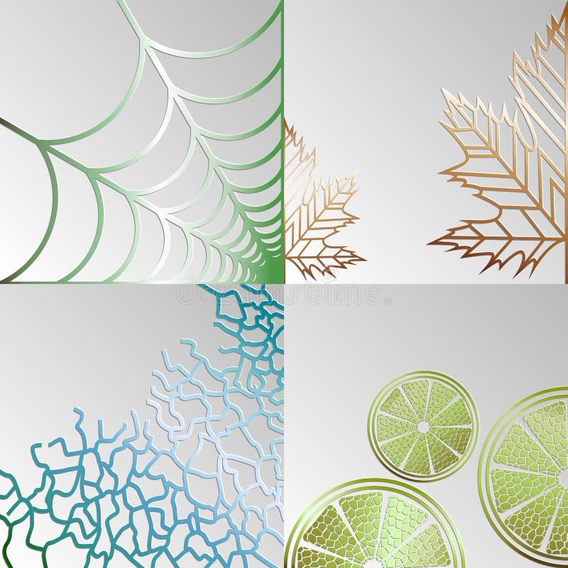 Fije de los fondos abstractos de sus telara?as, hojas, mandar?n y rizos en un fondo gris ilustración del vector