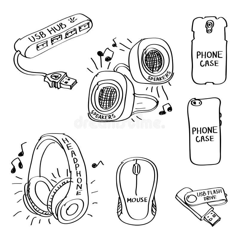 Fije de los garabatos dibujados mano de los accesorios de ordenador aislados en un fondo blanco stock de ilustración