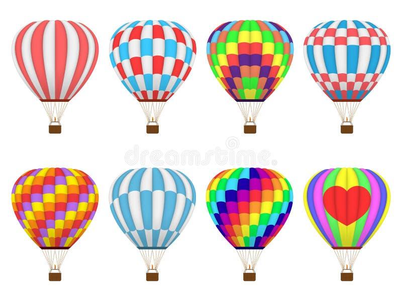 Fije de los globos coloridos o de aerostato del aire caliente, aislado en el fondo blanco libre illustration