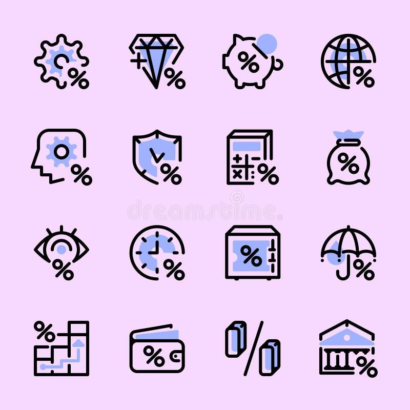 Fije de los iconos de los bancos, interés, dinero stock de ilustración
