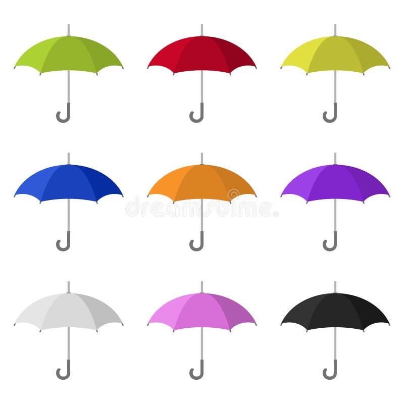 Fije de los iconos coloreados del paraguas aislados en el fondo blanco Estilo plano Ilustración del vector para su agua dulce de  ilustración del vector