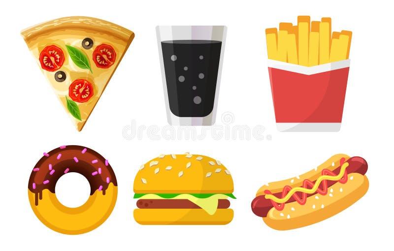 Fije de los iconos coloridos de los alimentos de preparación rápida para los sitios web y de los apps, pizza, soda, patatas frita ilustración del vector