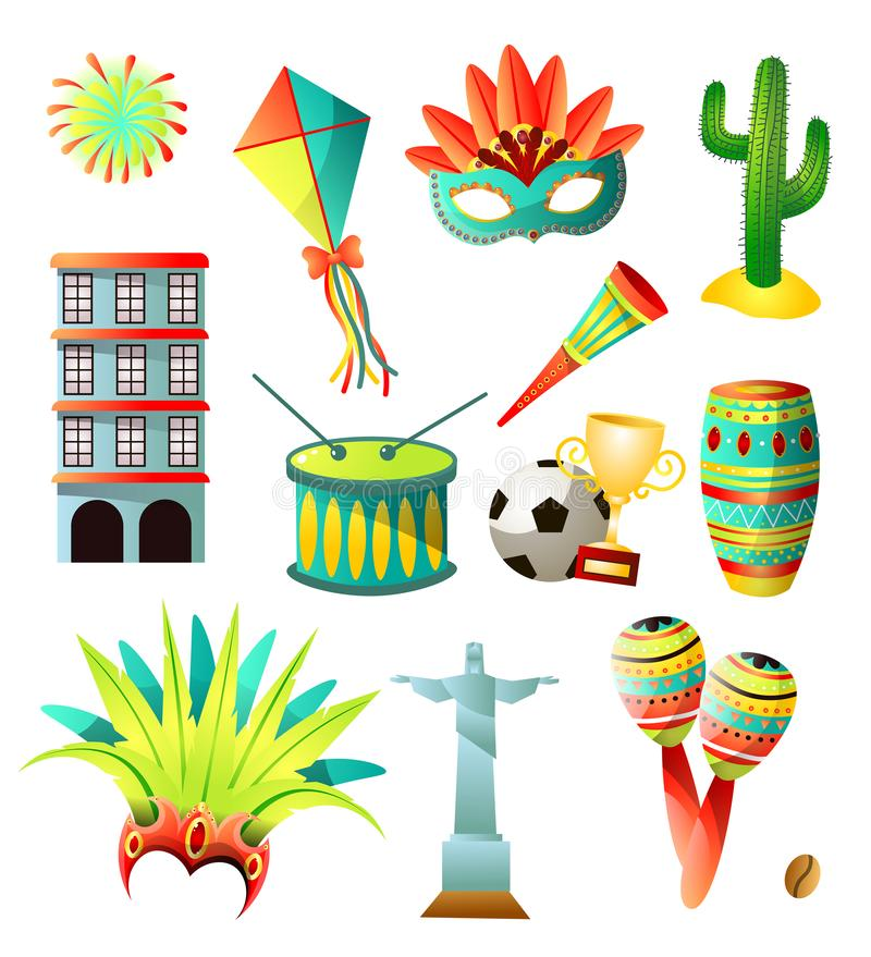 Fije de los iconos coloridos del país del Brasil, objetos tradicionales ilustración del vector