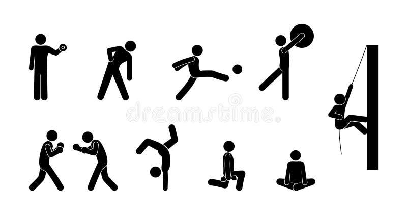 Fije de los iconos del deporte, gente juegan a diversos juegos stock de ilustración