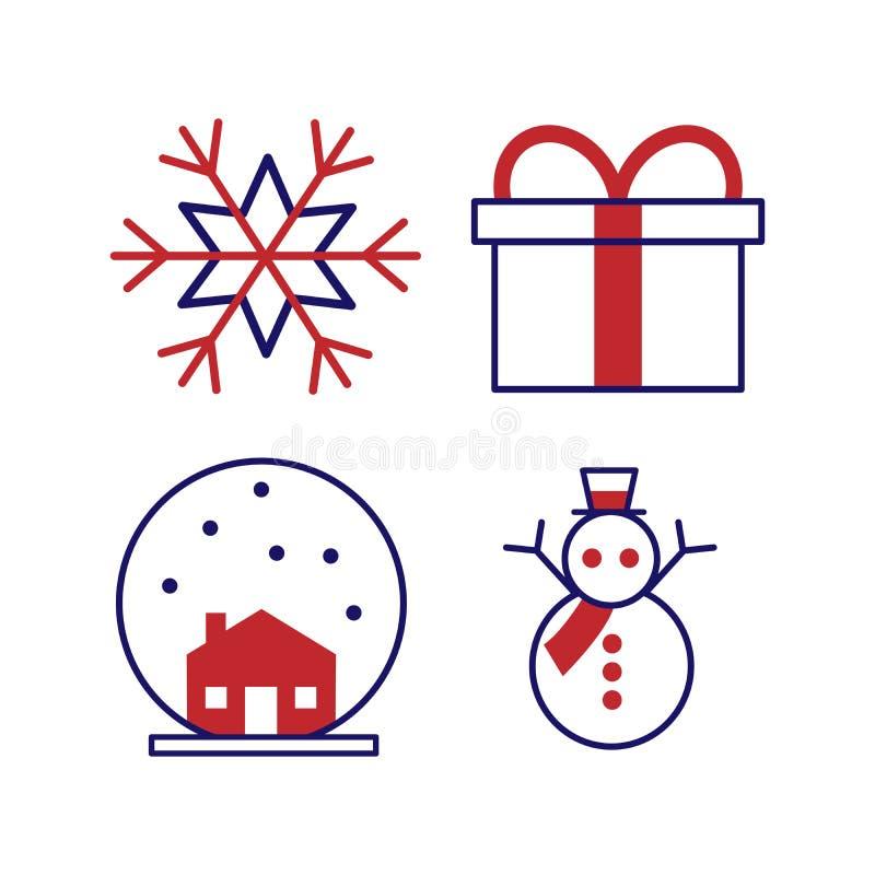 Fije de los iconos del invierno - árbol de navidad, demostración, vidrio de la bebida, campana del día de fiesta, regalo y café c libre illustration