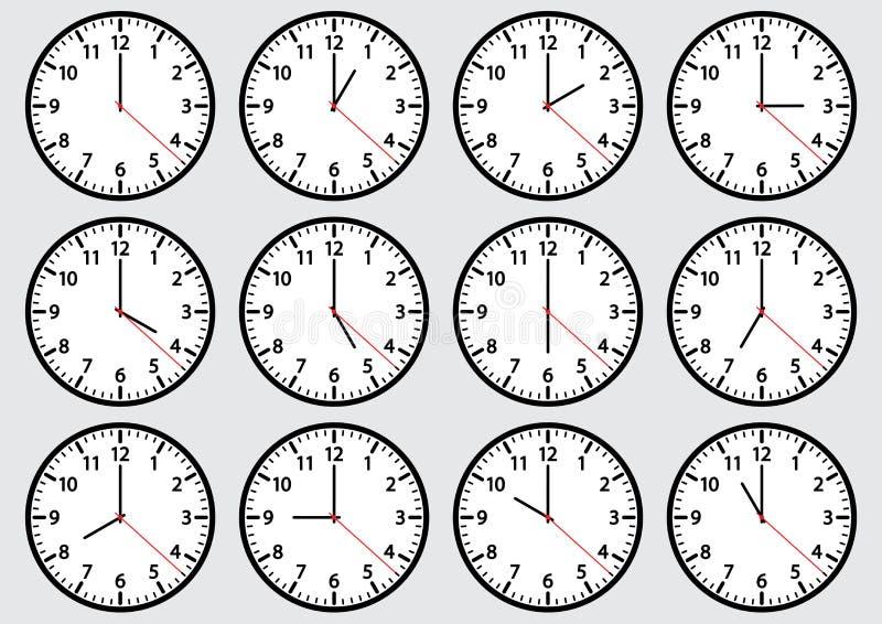 Fije de los iconos del reloj que muestran tiempo Ilustración del vector libre illustration