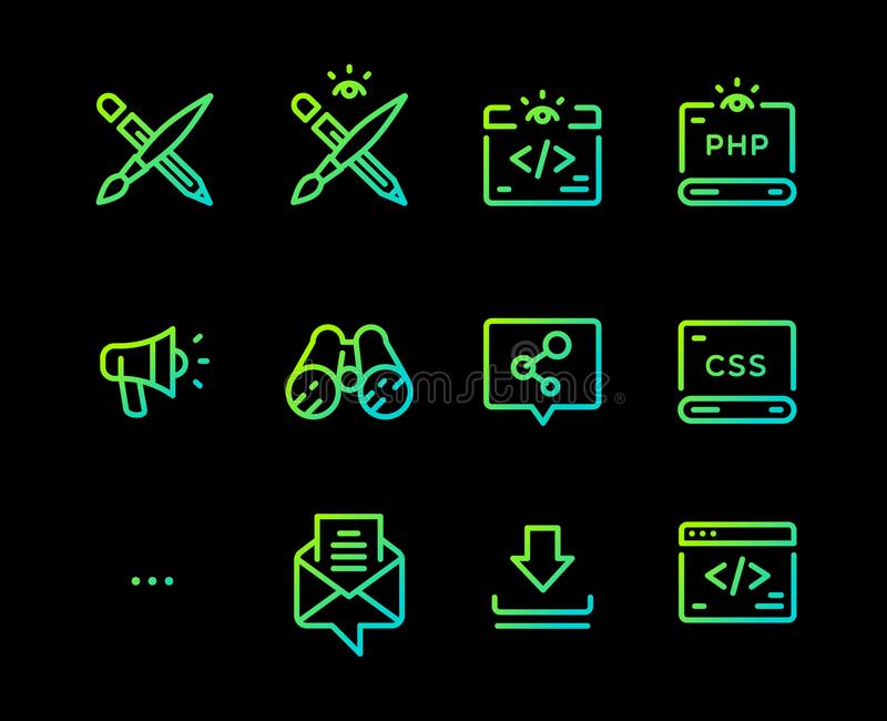 Fije de los iconos del vector de diversas profesiones Iconos para los desarrolladores de aplicaciones móviles Iconos aislados en  stock de ilustración