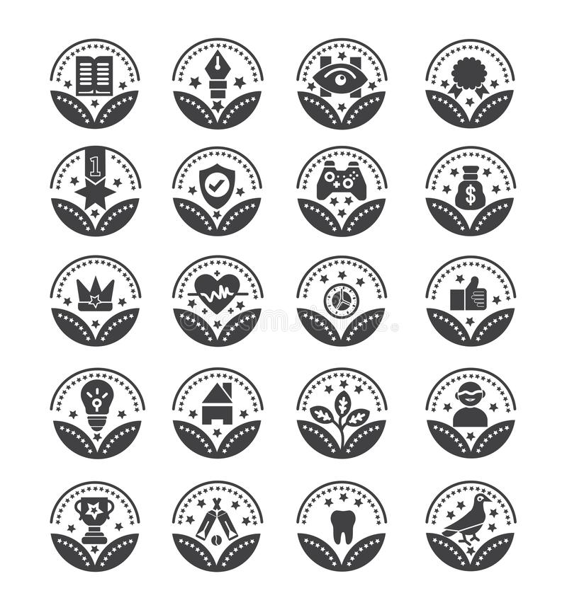 Fije de los iconos del vector de los premios - muestra del vector ilustración del vector