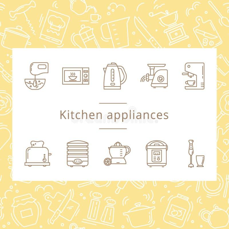 Fije de los iconos de los dispositivos de cocina en la línea estilo aislados en el fondo blanco ilustración del vector