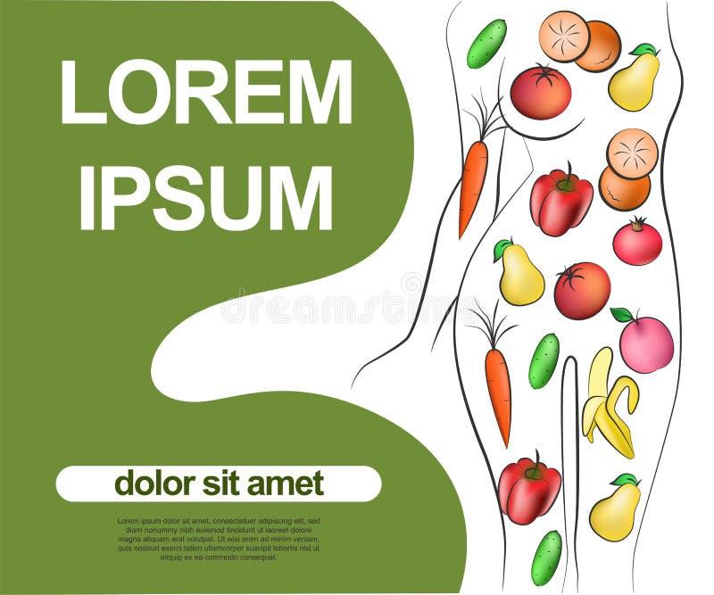 Fije de los iconos de la fruta y verdura que forman forma del cuerpo de la mujer s Ejemplo del vector que representan dieta veget ilustración del vector