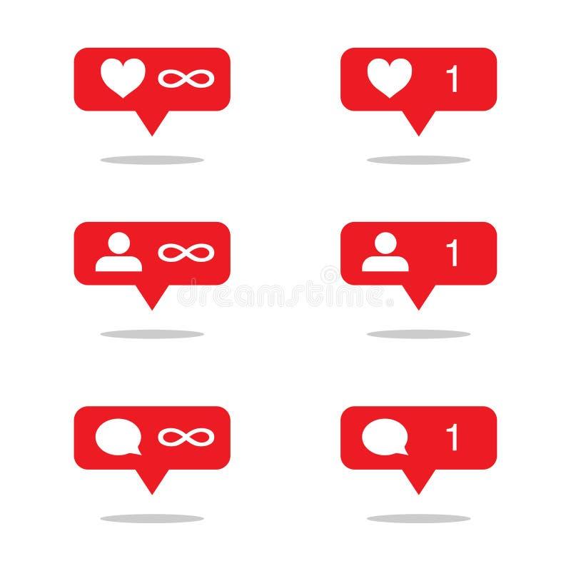 fije de los iconos para los medios sociales completamente stock de ilustración