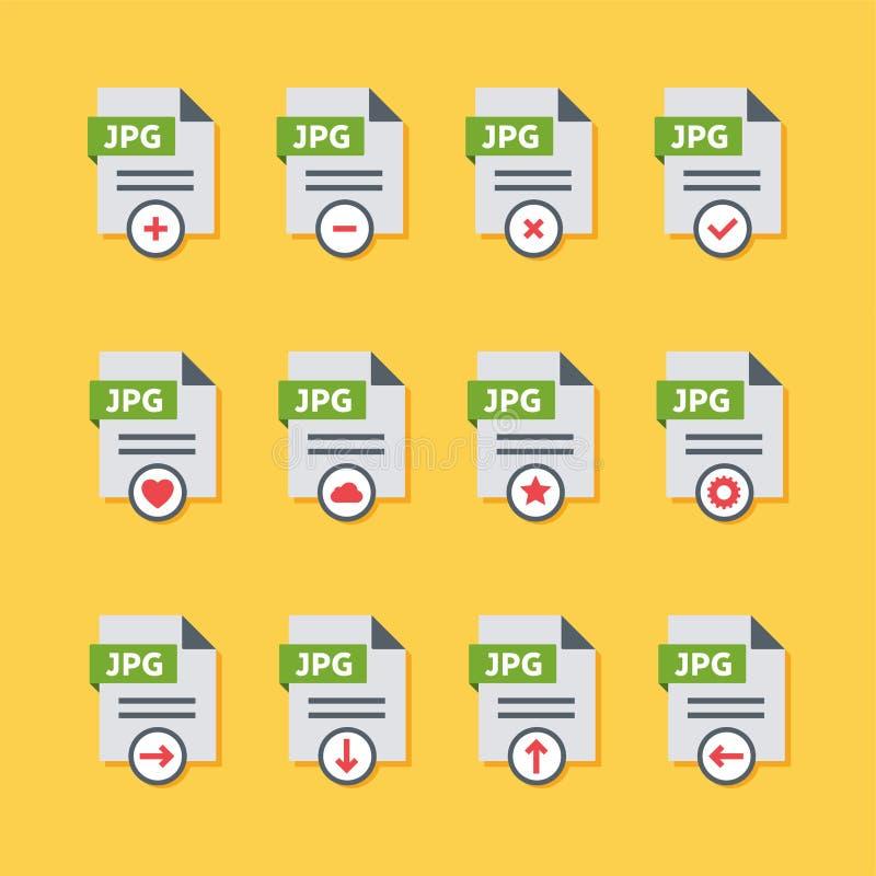 Fije de los iconos planos del tipo de archivo del JPG para los smartphones, tabletas, dispositivos, interfaz de usuario, usos fotografía de archivo libre de regalías