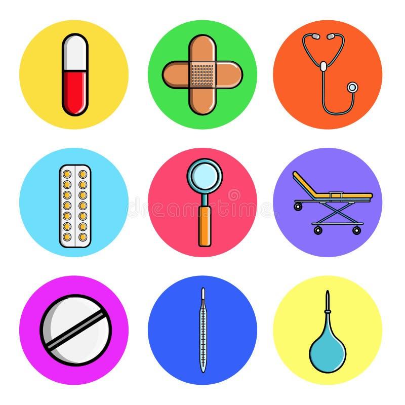 Fije de los iconos redondos médicos, cápsula de los artículos del equipamiento médico, píldora, remiendo, estetoscopio, placa, lu ilustración del vector