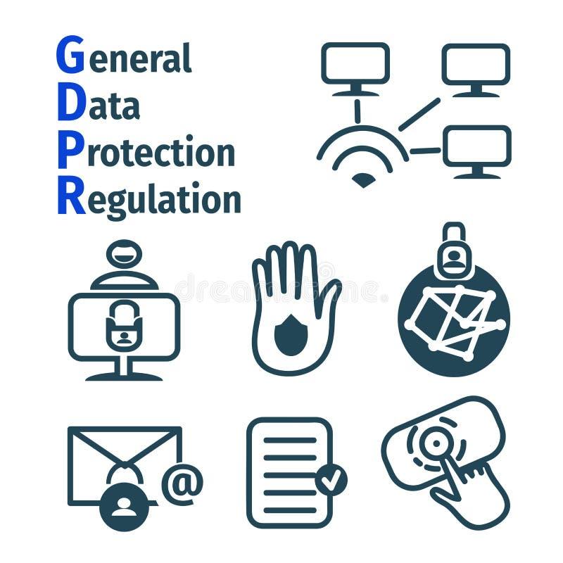 Fije de los iconos sobre GDPR - regulación general de la protección de datos Datos de Personsl schematic Cerradura en el ordenado fotografía de archivo