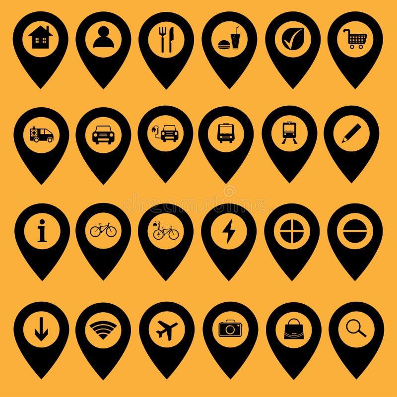 Fije de los iconos y de los marcadores - ejemplo del mapa libre illustration