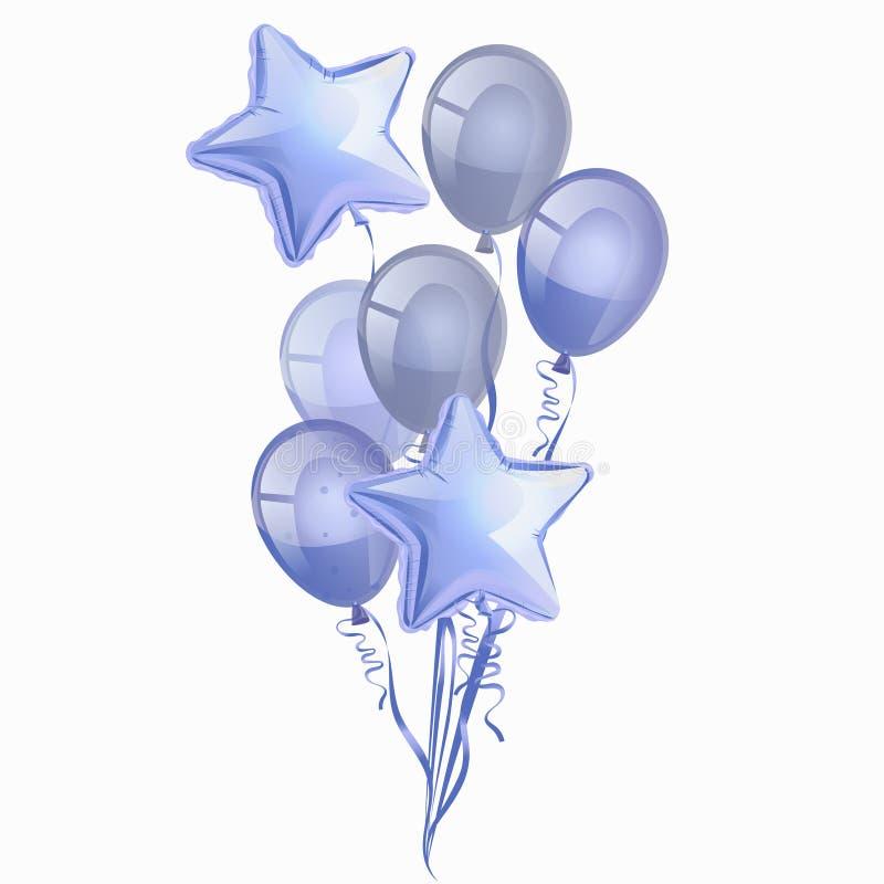 Fije de los impulsos azules brillantes realistas aislados en el aire en el fondo blanco Vector para las tarjetas de felicitación, stock de ilustración