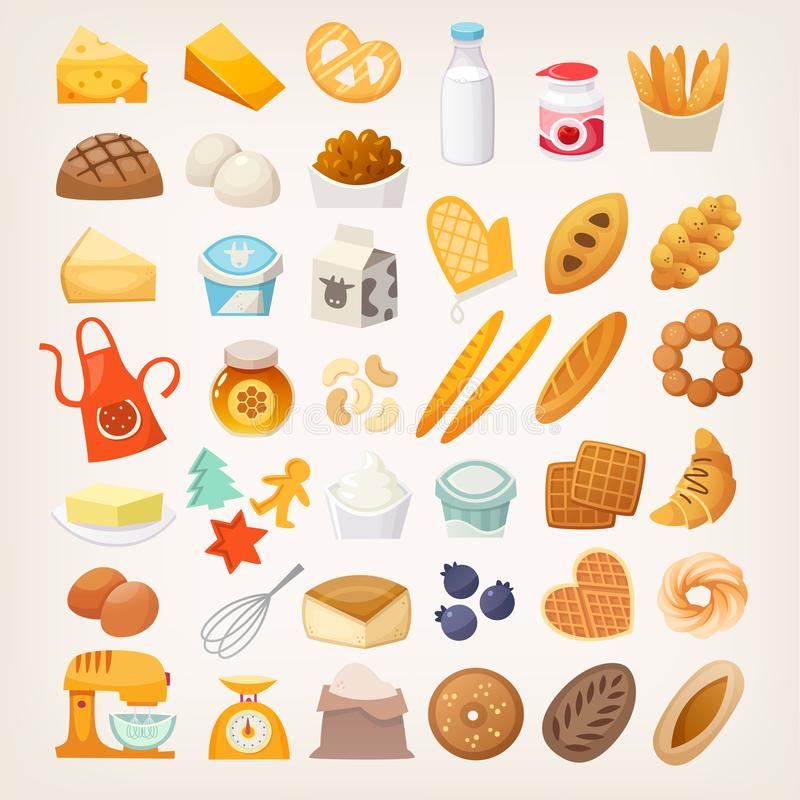 Fije de los ingredientes para cocinar el pan Iconos de la panadería ilustración del vector