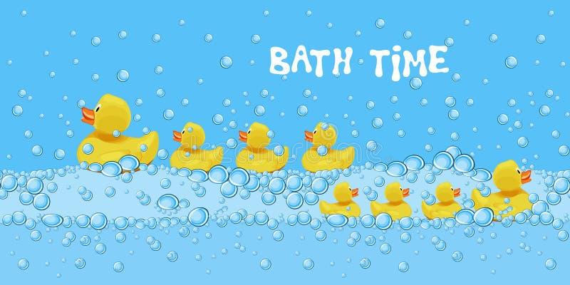 Fije de los juguetes de goma lindos del pato que nadan en el agua de baño con las burbujas de jabón stock de ilustración