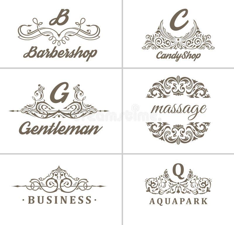Fije de los logotipos de la caligrafía de la cafetería del vintage, insignias y las etiquetas diseñan el sistema de elementos stock de ilustración