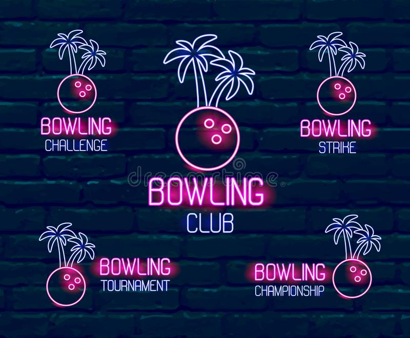 Fije de los logotipos de neón en colores rosado-azules Colección de 5 ejemplos para los bolos tropicales para el torneo, desafío, ilustración del vector