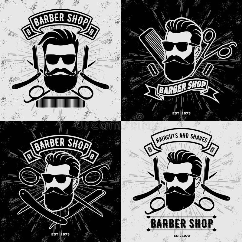 Fije de los logotipos o de las insignias de Barber Shop del vintage stock de ilustración