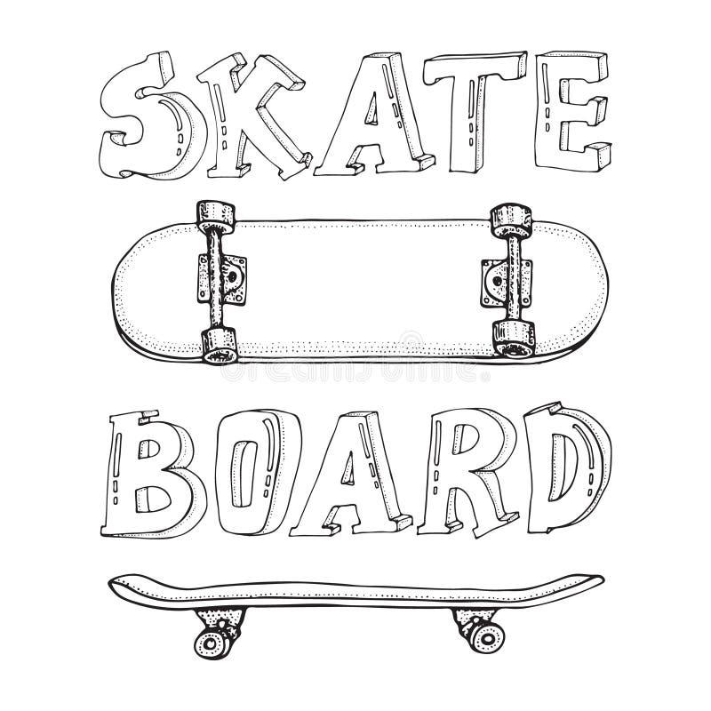 Fije de los monopatines aislados en blanco Garabato Longboard, pennyboard Ilustraci?n drenada mano del vector stock de ilustración