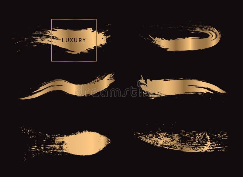 Fije de los movimientos de la brocha del oro aislados en fondo negro ilustración del vector