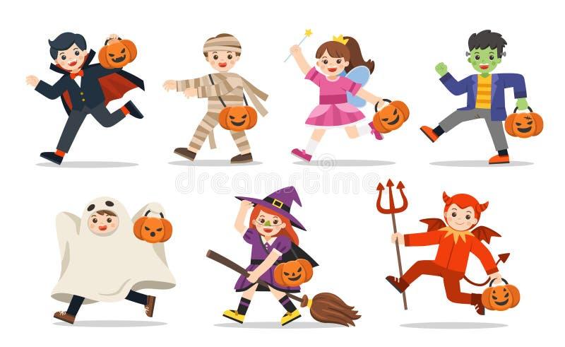 Fije de los niños vestidos en el disfraz de Halloween para ir truco o el tratar stock de ilustración