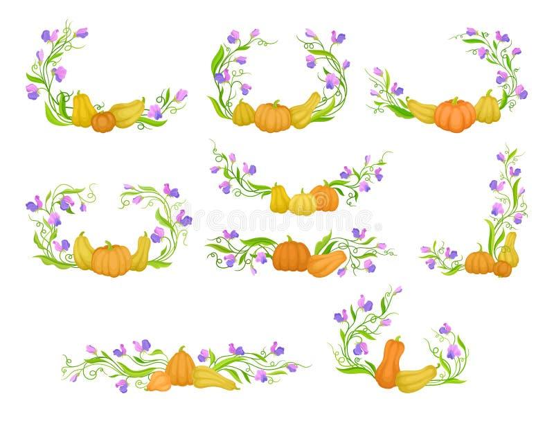 Fije de los ornamentos para los marcos de ramas, de flores y de calabazas de enrrollamiento Ilustraci?n del vector en el fondo bl libre illustration