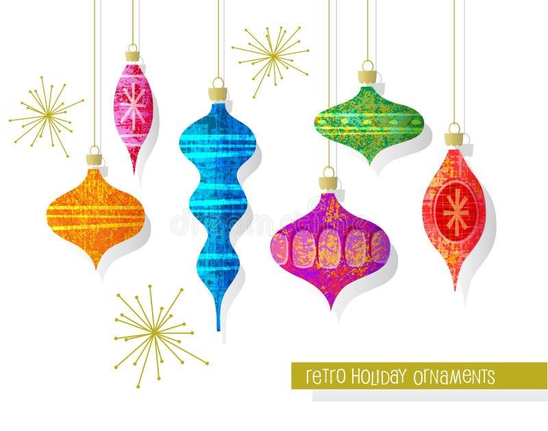 Fije de los ornamentos retros de la Navidad del vintage Elementos del diseño del vector libre illustration