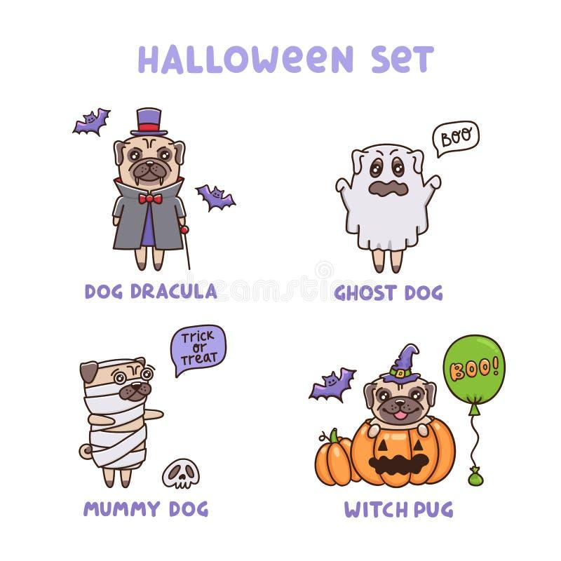 Fije de los perros de Helloween en diversos trajes: Drácula, fantasma, momia, bruja ilustración del vector