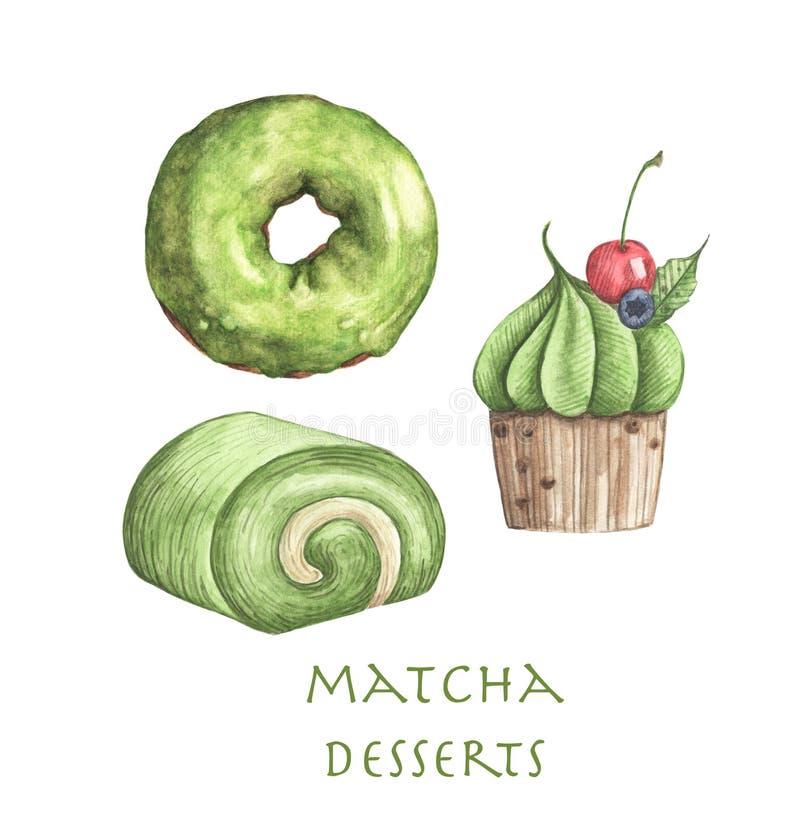 Fije de los postres de Matcha, de la torta del buñuelo, del rollo y de la magdalena stock de ilustración