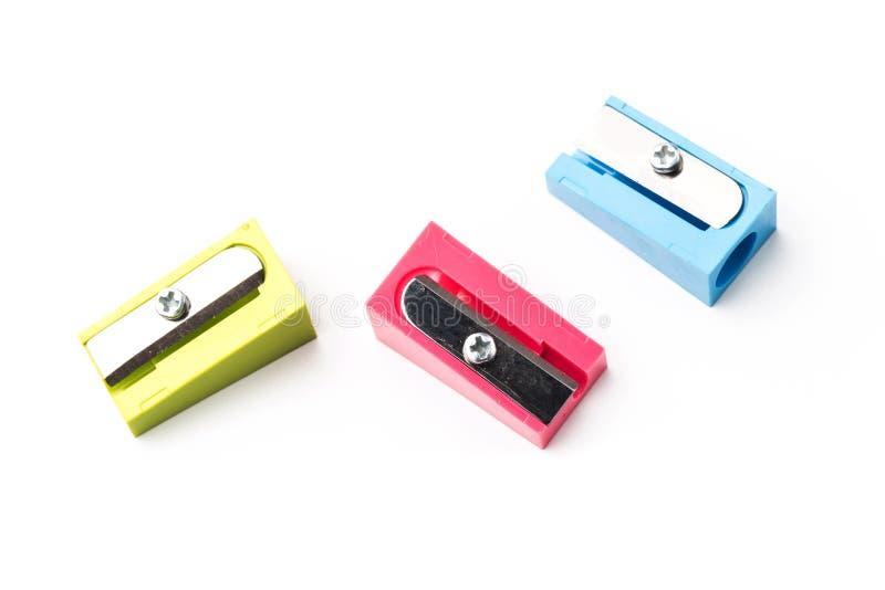 Fije de los sacapuntas de lápiz multicolores imagen de archivo libre de regalías