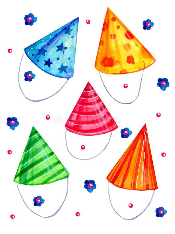 Fije de los sombreros estilizados del partido Ejemplo exhausto del bosquejo de la acuarela de la historieta de la mano stock de ilustración