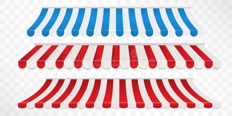 Fije de los toldos coloridos de la tira roja y blanca, azul y blanca para la tienda Sombrilla de la tienda para el mercado aislad libre illustration