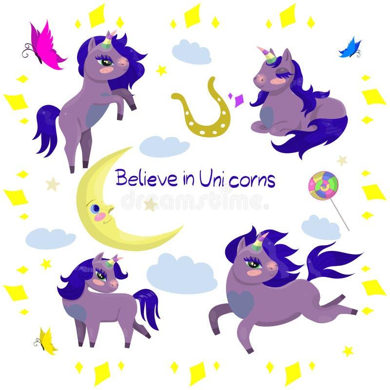Fije de los unicornios y de la otra imagen del vector de los artículos libre illustration