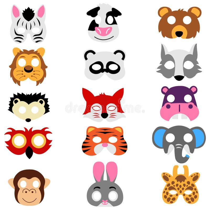 Fije de máscaras de los animales aislado ilustración del vector