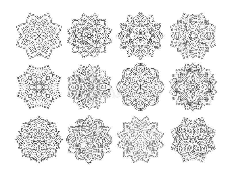 Fije de mandala en estilo oriental étnico Flor decorativa del vintage para la alheña, materia de la yoga, mehendi, tatuaje, libro foto de archivo