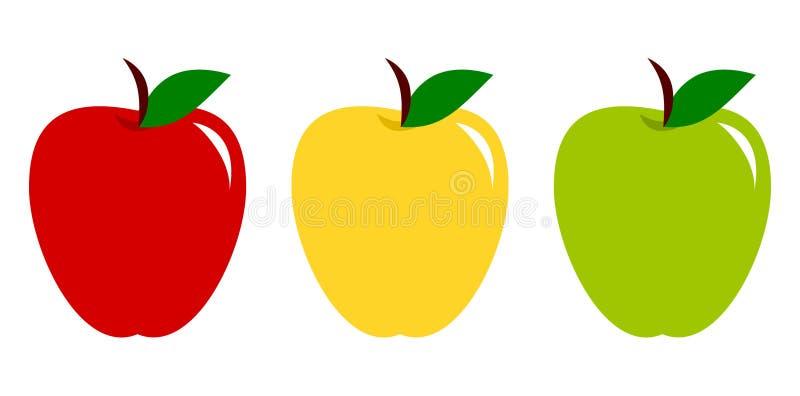 Fije de manzanas rojas, amarillas y verdes Colección de icono colorido de las frutas Ilustraci?n del vector ilustración del vector