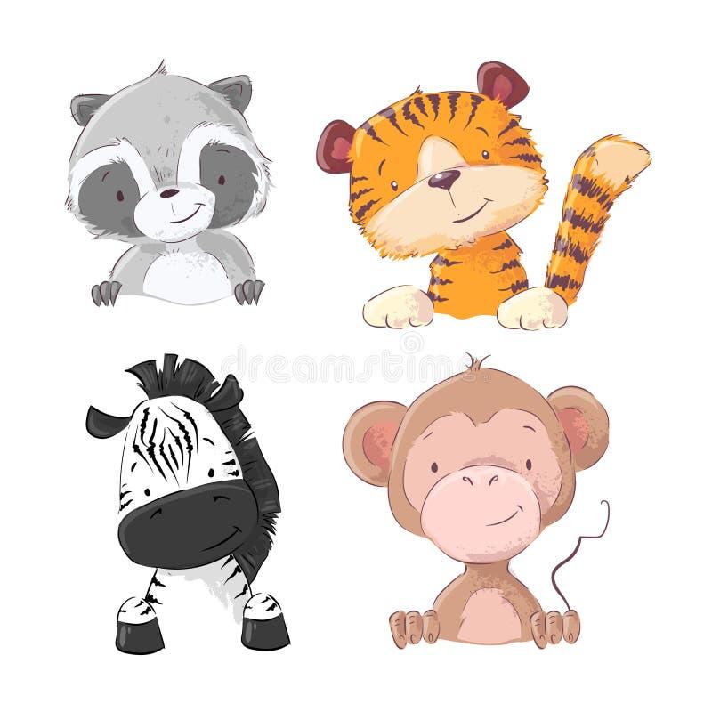 Fije de mapache del cachorro de tigre del mono de la cebra Estilo de la historieta ilustración del vector