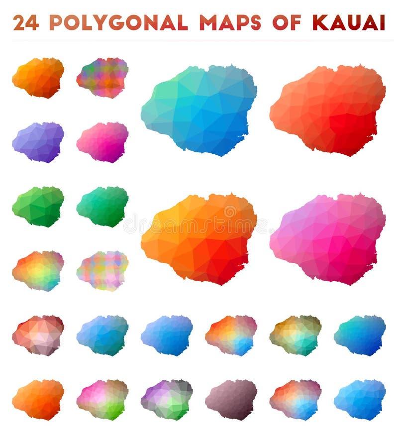 Fije de mapas poligonales del vector de Kauai libre illustration