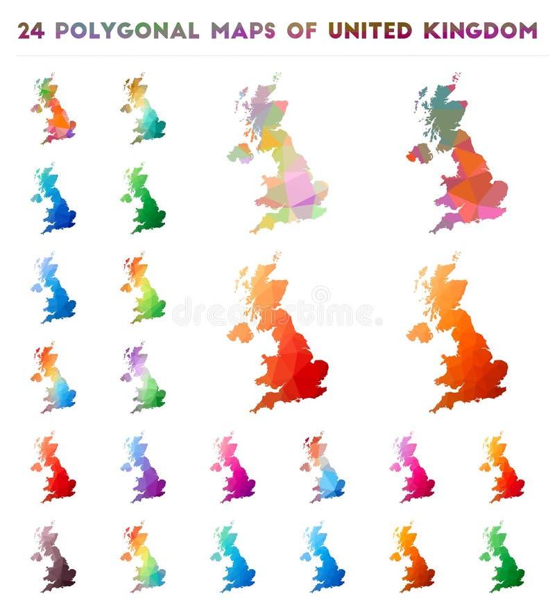 Fije de mapas poligonales del vector de Reino Unido stock de ilustración